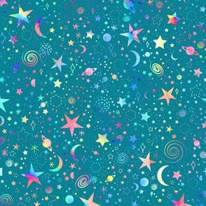 Rainbow Universe - teal background - smaller scale