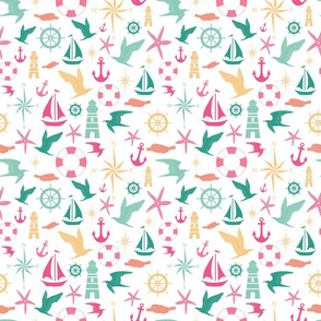 Navy pink and green vector nautical design