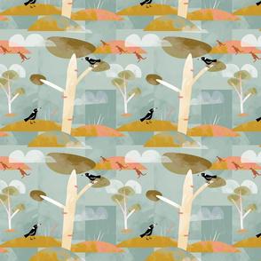 watercolour magpie quilt