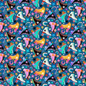 Retro Rainbow Roller Skates and Stars - small print