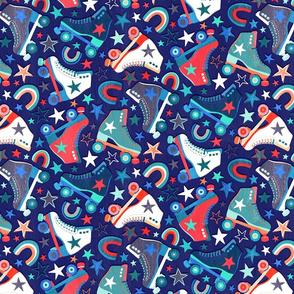 Retro Roller Skates in Red, Blue and White - medium print