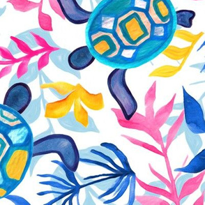 Vibrant Gouache Sea Turtles (Large Version)