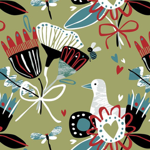 Abstract floral illo green