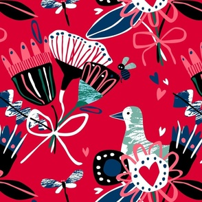 Abstract floral illo red