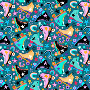 Stars and Skates Roller Rink Party on Teal - medium print