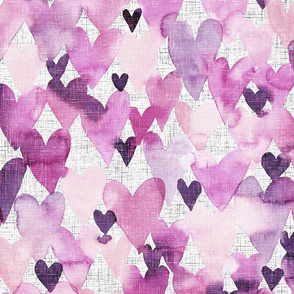 hearts watercolor with linnen structure