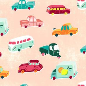 funny vintage vehicles peach
