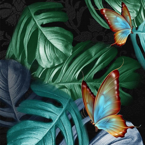 Tropical Blue Green Leaves on Black
