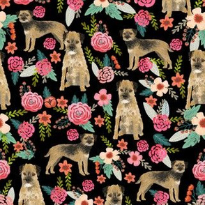 border terrier florals dog breed fabric black