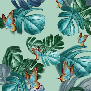 Tropical Blue Turquoise leaves on L green M print