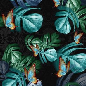 Tropical mix green leaves on black M print