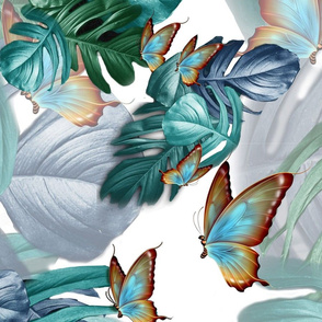 Tropical Blue Green leaves on white small mix print