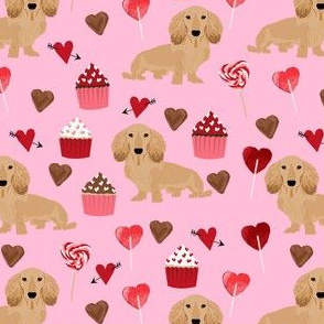 longhaired doxie fabric - dachshund design, longhaired doxie fabric, valentines fabric, cupcakes dogs fabric