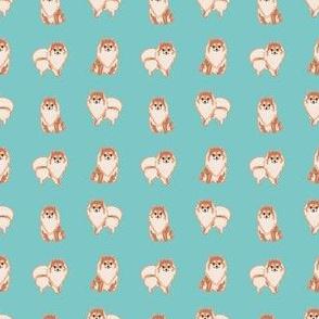 SMALL - pomeranian dog fabric, pom dog fabric, pom dog, dog breed fabric dog  design - blue