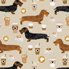 wirehaired doxie coffee fabric - wirehaired dachshund fabric, dog fabric, coffee fabric, coffee lover fabric