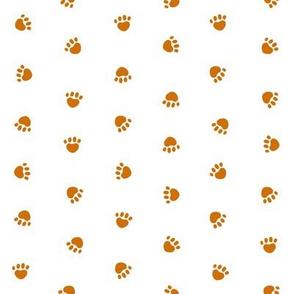 dog paws fabric - dog fabric, dog design - rust