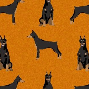 doberman dog fabric - dog fabric, pet fabric, doberman pinshcer, - rust
