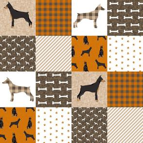 doberman fabric, doberman cheater quilt -  dog quilt, doberman fabric, doberman design - rust