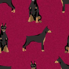 doberman fabric - dog  fabric, dogs, dog design, doberman pinscher - maroon