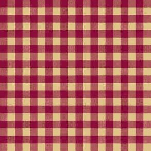 plaid fabric - maroon and tan