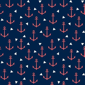 SMALL - anchor fabric coral nautical fabric design - coral and navy triangles