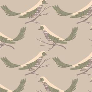 Pretty Birds ~ Light Taupe