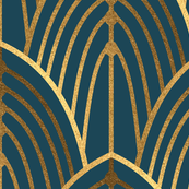 Art Deco Arches Teal (Large Scale)