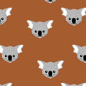 Little kawaii Australian koala bear baby friends outback animals for kids rust copper gray