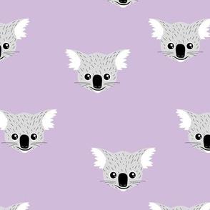 Little kawaii Australian koala bear baby friends outback animals for kids lilac violet lavender purple