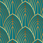 Art Deco Arches Bright Teal (smaller)