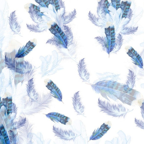 Blue white, pink, lilac exotic bird tone feathers