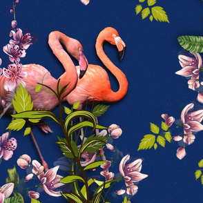 Pink Flamingos on Classic Blue