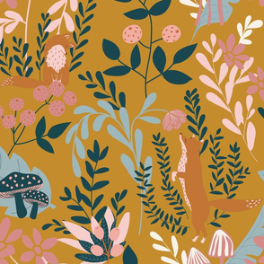 Whimsical forest (mustard)