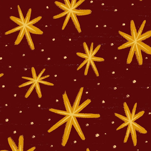 Magical Star Bursts - Large Scale - Maroon and Gold
