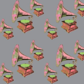 Vintage Gramophone Seamless Repeating Pattern - Greens-ch-ch