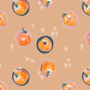 tan backed watercolor oranges