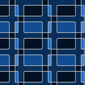 Silver Foil Utilitarian Geometric Squares Classic Blue Tile