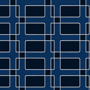 Silver Foil Utilitarian Geometric Squares Dark Blue Tile