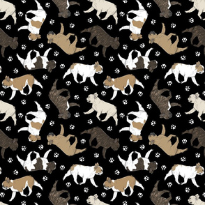 Trotting French Bulldogs and paw prints - black