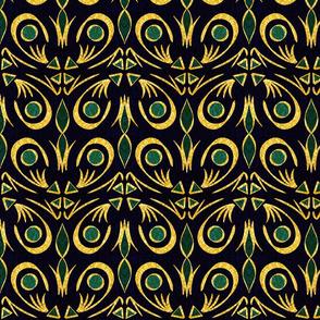 Gold Foil Art Deco Fleur in Teal Tile