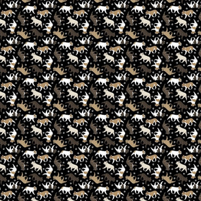 Tiny Trotting French Bulldogs and paw prints - black