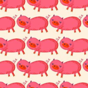 Pink Pigs on cream