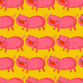 Pink Pigs on Yellow