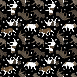 Trotting brindle French Bulldogs and paw prints - black