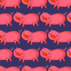 Pink Pigs on Deep Blue