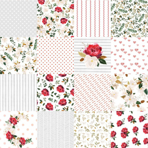 red rose magnolia cheater quilt - 6 inch squares