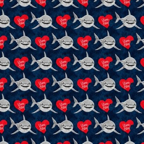 (small scale) Love Bites - Shark Valentines - Navy and Red - LAD19