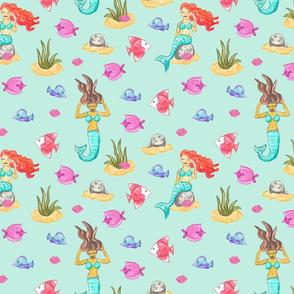 Mermaids and fish watercolor