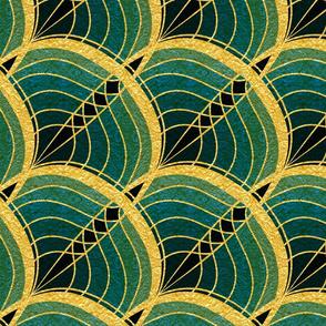 Gold Foil Art Deco Slanted Wave Cyan and Teal Tile