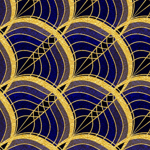 Gold Foil Art Deco Slanted Wave Deep Blue Tile